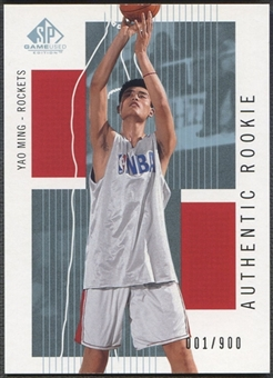 2002/03 SP Game Used #104 Yao Ming Rookie Jersey #001/900
