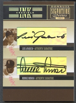 2005 Donruss Signature #21 Luis Aparicio & Minnie Minoso INKcredible Combos Auto