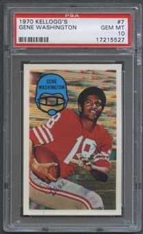 1970 Kellogg's Football #7 Gene Washington PSA 10 (GEM MT) *5527