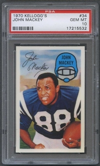 1970 Kellogg's Football #34 John Mackey PSA 10 (GEM MT) *5532