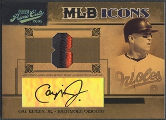 2005 Prime Cuts #9 Cal Ripken MLB Icons Signature Material Jersey Number Patch Auto #06/25