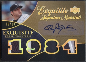 2007 Exquisite Collection #RC Roger Clemens Rookie Signatures Materials Silver Spectrum Patch Auto #09/10