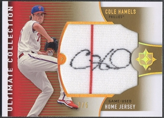 2008 Ultimate Collection #CH Cole Hamels Gold Home Jersey Auto #3/5