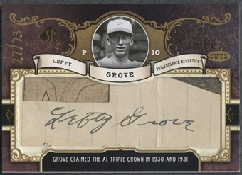 2007 SP Legendary Cuts #GR Lefty Grove Inside the Numbers Cuts Auto #27/73