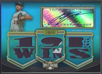 2010 Topps Triple Threads #AR118 Justin Verlander Sapphire Jersey Patch Auto #3/3