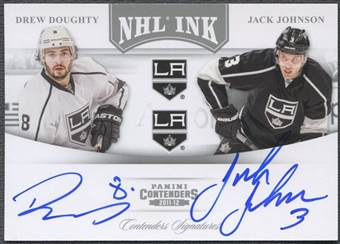 2011/12 Panini Contenders #18 Drew Doughty & Jack Johnson NHL Ink Duals Auto #26/75
