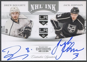 2011/12 Panini Contenders #18 Drew Doughty & Jack Johnson NHL Ink Duals Auto #32/75
