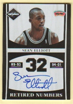 2011/12 Panini Limited Retired Numbers Signatures #19 Sean Elliott Autograph /99