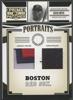 2005 Prime Patches #5 David Ortiz Portraits Double Swatch Prime Patch Sweatband #1/5