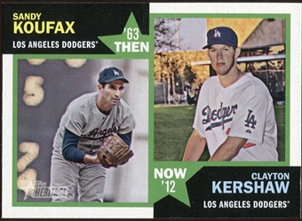 2012 Topps Heritage Then and Now #KK Sandy Koufax/Clayton Kershaw