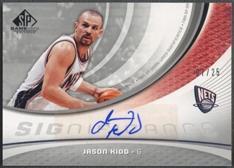 2005/06 SP Game Used #JK Jason Kidd SIGnificance Auto #07/25