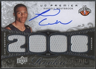 2008/09 Upper Deck Premier #104 Russell Westbrook Rookie Jersey Auto #092/199