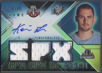 2008/09 SPx #115 Kevin Love Rookie Jersey Auto #19/99