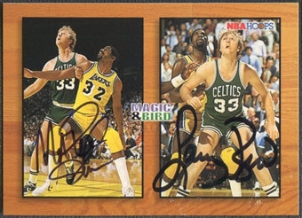 1993/94 Hoops #MB1A Magic Johnson & Larry Bird Auto