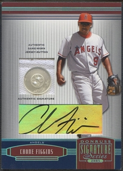 2005 Donruss Signature #3 Chone Figgins Platinum Material Button Auto #2/5