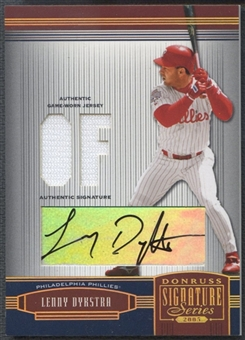 2005 Donruss Signature #105 Lenny Dykstra Material Position Gold Jersey Auto #07/10