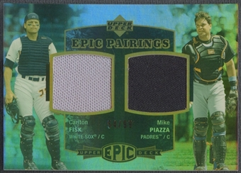 2006 Upper Deck Epic #FP Carlton Fisk & Mike Piazza Epic Pairings Jersey #54/99