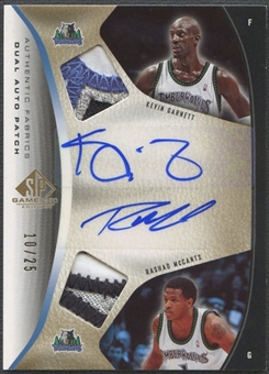 2006/07 SP Game Used #GM Kevin Garnett & Rashad McCants Authentic Fabrics Dual Patch Auto #10/25