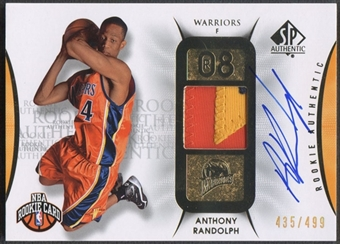 2008/09 SP Authentic #129 Anthony Randolph Rookie Patch Auto #435/499