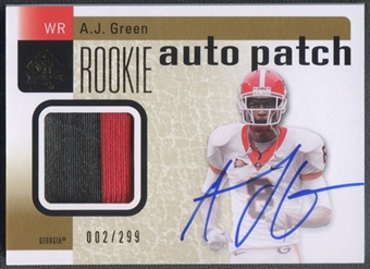 2011 SP Authentic #203 A.J. Green Rookie Patch Auto #002/299