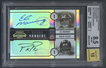 2004 Playoff Contenders #RN1 Eli Manning & Philip Rivers Round Numbers Rookie Auto #032/100 BGS 8.5