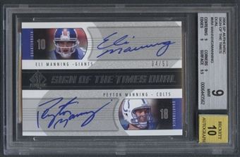 2004 SP Authentic #MM Eli Manning & Peyton Manning Sign of the Times Dual Auto #04/50 BGS 9