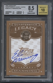 2004 Topps Draft Picks and Prospects #QBEM Eli Manning Quarterback Legacy Rookie Auto #008/100 BGS 8.5