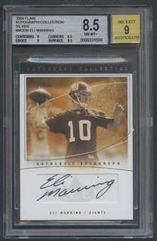 2004 Flair #ACEM Eli Manning Collection Silver Rookie Auto BGS 8.5