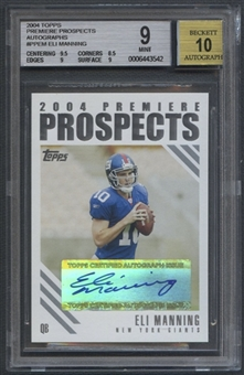 2004 Topps Premiere Prospects #PPEM Eli Manning Rookie Auto #095/100 BGS 9