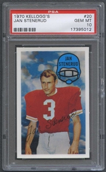 1970 Kellogg's Football #20 Jan Stenerud PSA 10 (GEM MT) *5012