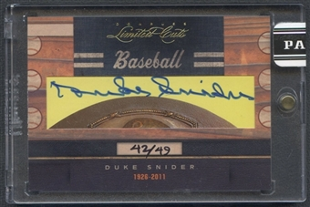 2011 Donruss Limited Cuts #94 Duke Snider Cut Auto #42/49