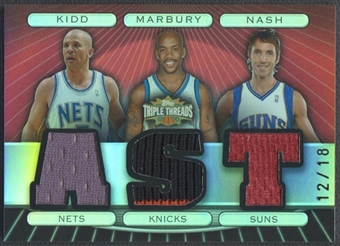 2007/08 Topps Triple Threads #21 Jason Kidd Stephon Marbury Steve Nash Relics Combos Jersey #12/18