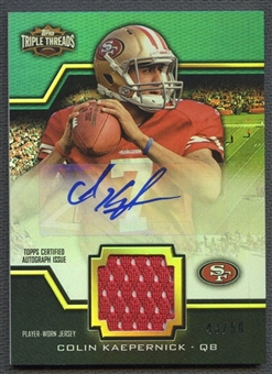 2011 Topps Triple Threads #TTUAR46 Colin Kaepernick Emerald Rookie Jersey Auto #43/50