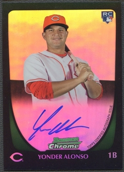 2011 Bowman Chrome #210 Yonder Alonso Rookie Refractor Auto #461/500