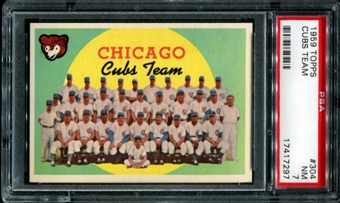 1959 Topps Baseball #304 Chicago Cubs Team PSA 7 (NM) *7297