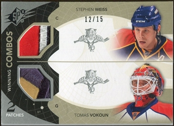 2010/11 Upper Deck SPx Winning Combos Patches #WCVW Tomas Vokoun Stephen Weiss 12/15