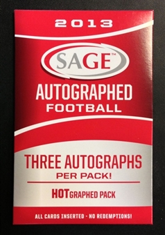2013 Sage Autographed Football Hobby HOT Graphed Pack