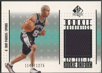 2001/02 SP Authentic #RATP Tony Parker Rookie Authentics Jersey #1146/1275