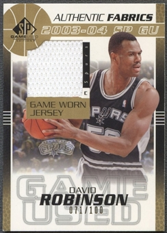 2003/04 SP Game Used #DRJ David Robinson Authentic Fabrics Gold Jersey #071/100