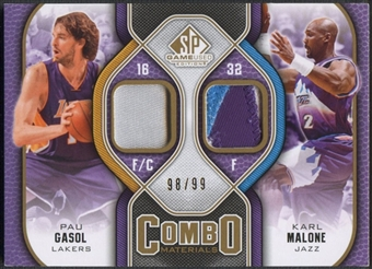 2009/10 SP Game Used #CPPK Karl Malone & Pau Gasol Combo Patch #98/99