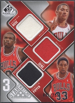 2009/10 SP Game Used #3SHDP Scottie Pippen Derrick Rose Luol Deng 3 Star Swatches Jersey #081/299