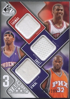 2009/10 SP Game Used #3SSOT Stromile Swift Shaquille O'Neal Tyrus Thomas 3 Star Swatches Jersey #018/299