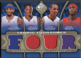 2009/10 SP Game Used #F4HBAS Richard Hamilton Arron Afflalo Walter Sharpe Kwame Brown Jersey #007/125