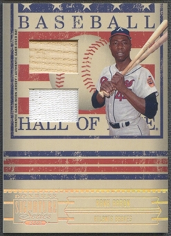 2005 Donruss Signature #6 Hank Aaron Hall of Fame Material Combo Bat Jersey