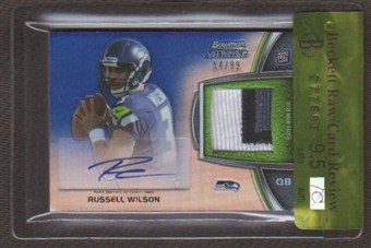 2012 Topps Bowman Sterling Russell Wilson BGS 9.5 RC 3 color seam Patch Auto 54/99