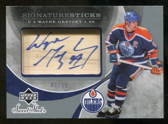 2007/08 Upper Deck Sweet Shot Auto Wayne Gretzky Signature Sticks #07/15 Rare