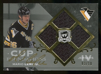 2007/08 The Cup Mario Lemieux Cup Foundations Jersey Auto # 3/10 Hard Signed