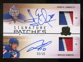 2009/10 The Cup Signature Patches 3 col Henrik Lundqvist / Marian Gaborik Hard Signed