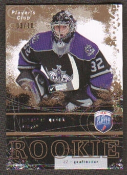 2007/08 Upper Deck Be A Player Players Club Gold Jonathan Quick Rookie RC 3/10 RARE!