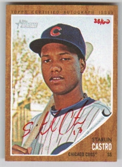 2011 Topps Heritage Starlin Castro RED Autograph Short-Print # 38/62 odds 1: 700 packs
